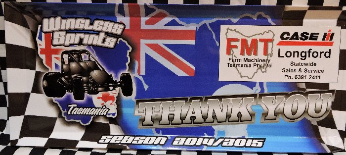 Tasmainia Wingless Sprints Sponsor Thank You Panel